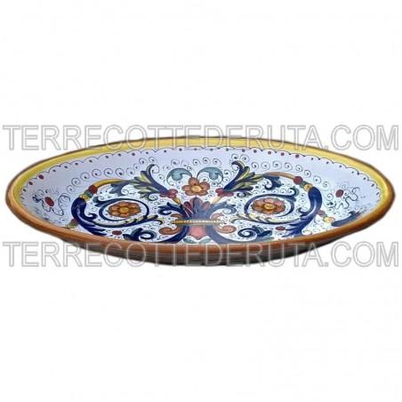 Vassoio ceramica maiolica Deruta dipinto a mano da portata ovale decoro ricco Deruta giallo