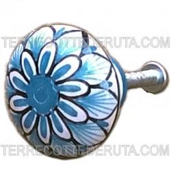 Pomello in ceramica maiolica Deruta dipinto a mano Vario Turchese 01