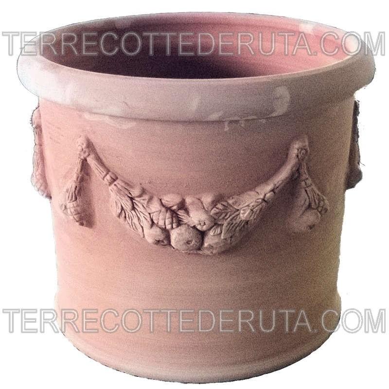 Vaso cilindrico in Terracotta con festone lavorato a mano
