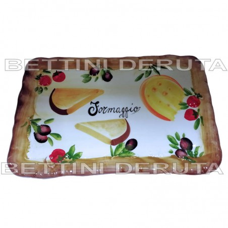 Vassoio ceramica Made in Italy dipinto a mano decoro formaggio salumi rettangolare