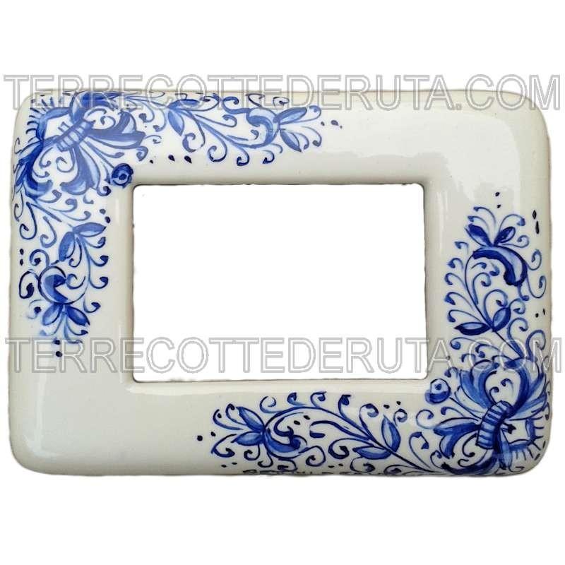 placca copri interruttori ceramica maiolica