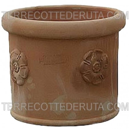 Piccolo vaso cilindrico in Terracotta con rosa lavorato a mano Cm. 25 30