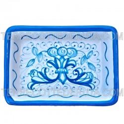 Portasapone ceramica maiolica Deruta dipinto a mano decoro ricco Deruta turchese monocolore rettangolare