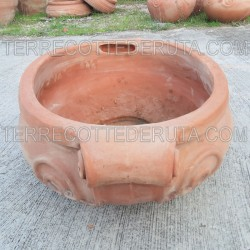 Oval terracotta vase with 2 curls hand made