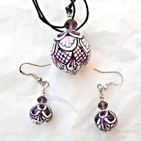 Parure collana orecchini in ceramica maiolica Deruta dipinto a mano viola