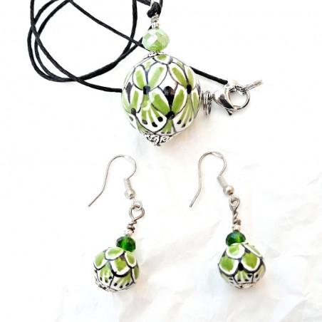 Parure collana orecchini in ceramica maiolica Deruta dipinto a mano verde