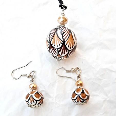 Parure collana orecchini in ceramica maiolica Deruta dipinto a mano colori