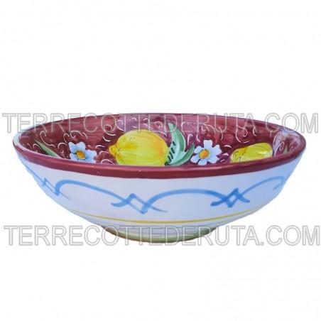 Bolo Insalatiera ceramica maiolica Deruta dipinto a mano decoro Positano Blu