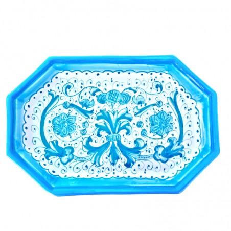 Vassoio ceramica maiolica Deruta dipinto a mano ottagonale decoro Ricco Deruta Turchese