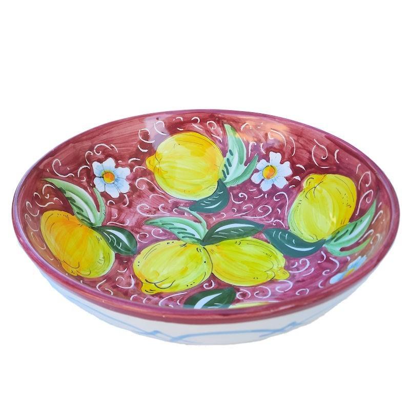 Bolo Insalatiera ceramica maiolica Deruta dipinto a mano decoro Positano rosso scuro