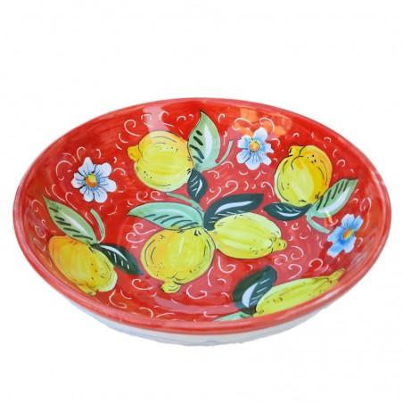 Bolo Insalatiera ceramica maiolica Deruta dipinto a mano decoro Positano rosso