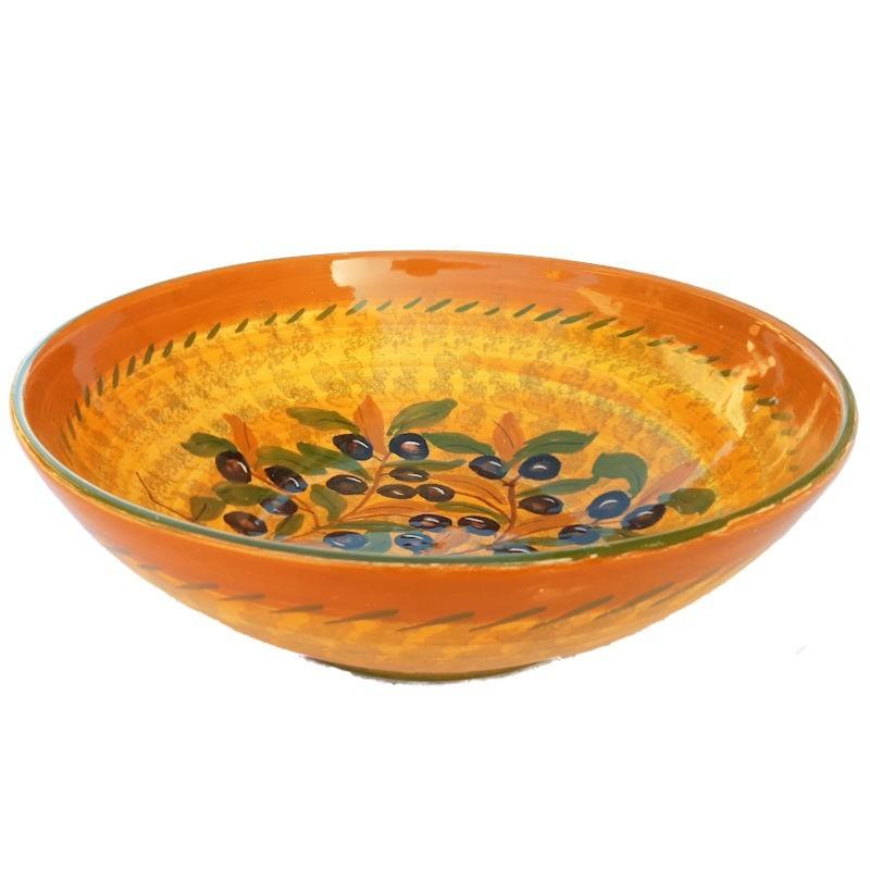 Bolo Insalatiera ceramica maiolica Deruta dipinta a mano decoro Olive