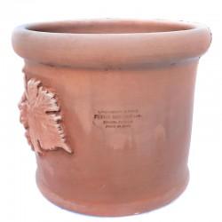 Piccolo vaso cilindrico in Terracotta con Grappolo Uva lavorato a mano Cm. 25 30