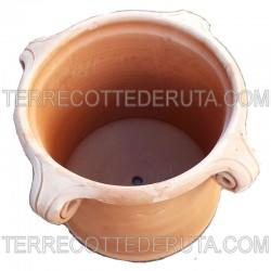 Piccolo Vaso cilindrico in Terracotta con 4 riccioli forati lavorato a mano Cm. 25 30