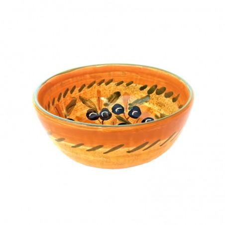 Bolo Insalatiera ceramica maiolica Deruta dipinta a mano decoro olive Cm 15