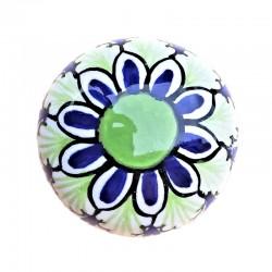 Pomello in ceramica maiolica Deruta dipinto a mano Vario Verde 04