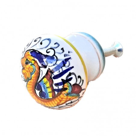 Deruta majolica ceramic knob hand painted Raphaelesque