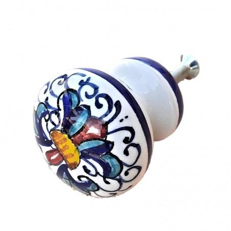 Deruta majolica ceramic knob hand painted Rich Deruta Blue