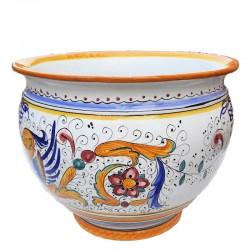 Porta vaso cachepot ceramica maiolica Deruta dipinto a mano decoro Raffaellesco