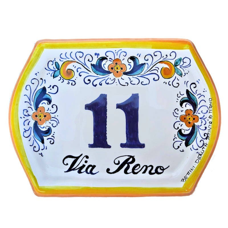 House number ceramic majolica Deruta with street hand painted yellow edge
