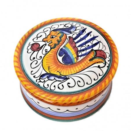 Scatolina portagioie ceramica maiolica Deruta dipinto a mano decoro Raffaellesco Cm. 10x5
