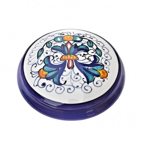 Scatolina portagioie ceramica maiolica Deruta dipinto a mano decoro Ricco Deruta Blu Cm. 9 x 4