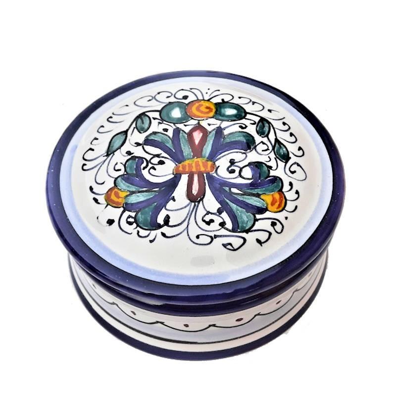 Scatolina portagioie ceramica maiolica Deruta dipinto a mano decoro Ricco Deruta Blu Cm. 10x5