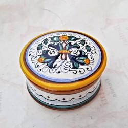 Scatolina portagioie ceramica maiolica Deruta dipinto a mano decoro Ricco Deruta Giallo Cm. 10x5