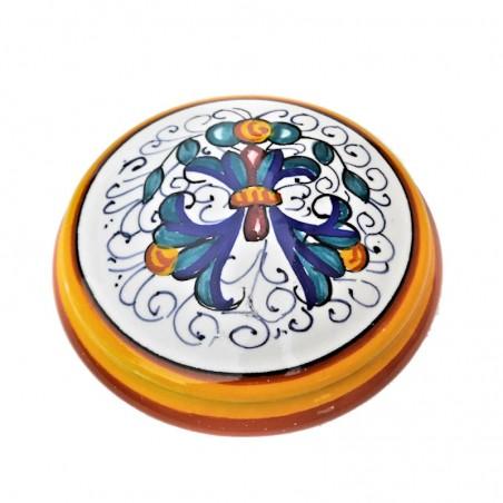 Scatolina portagioie ceramica maiolica Deruta dipinto a mano decoro Ricco Deruta Giallo Cm. 9 x 4