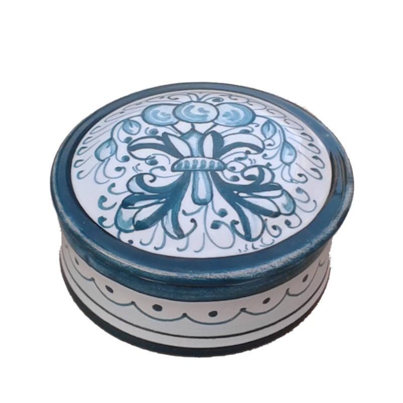 Scatolina portagioie ceramica maiolica Deruta dipinto a mano decoro Ricco Deruta Verde monocolore Cm. 10x5