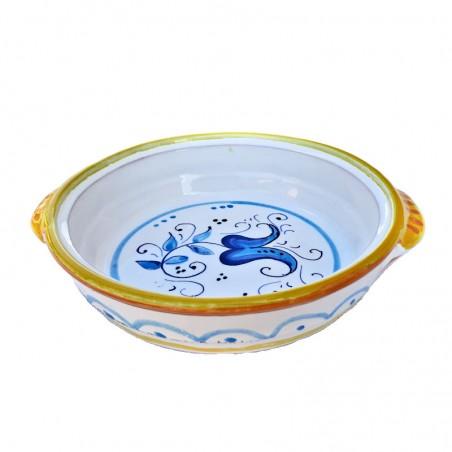 Tegame da fiamma ceramica maiolica Deruta dipinto a mano decoro giallo