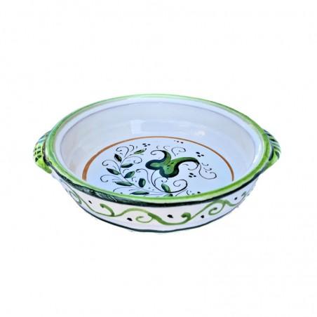 Tegame da fiamma ceramica maiolica Deruta dipinto a mano decoro verde