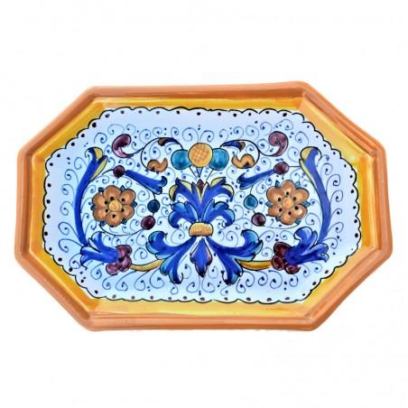 Vassoio ceramica maiolica Deruta dipinto a mano ottagonale decoro Ricco Deruta giallo
