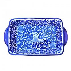 Pirofila da forno ceramica maiolica Deruta dipinta a mano decoro arabesco blu