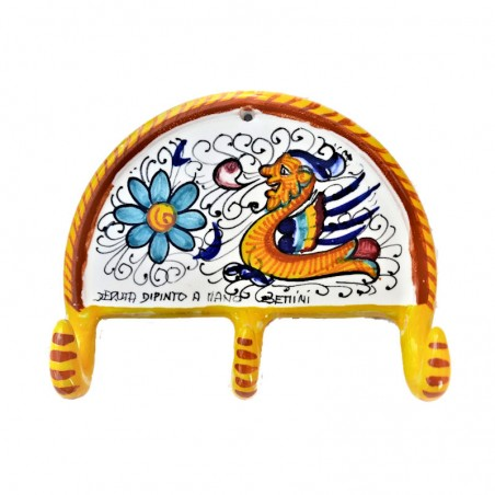 Appendino ceramica maiolica Deruta dipinto a mano decoro Raffaellesco 3 Ganci