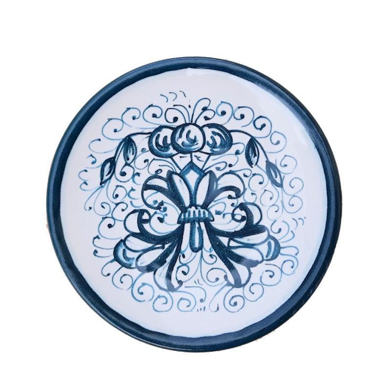 Piattino ceramica maiolica Deruta dipinto a mano decoro Ricco Deruta verde Cm. 12