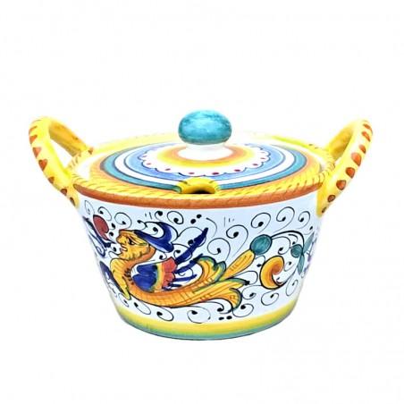 Formaggiera ceramica maiolica Deruta dipinta a mano decoro Raffaellesco