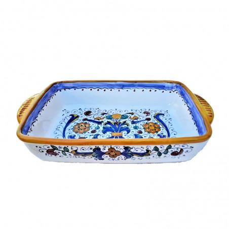 Pirofila da forno ceramica maiolica Deruta dipinta a mano decoro Ricco Deruta Giallo