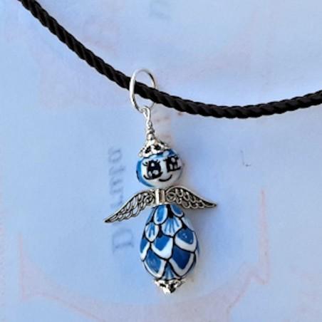 Collana angeli ceramica maiolica Deruta dipinto a mano turchese