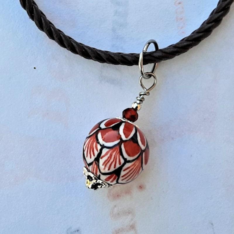 Bracciale Corda ceramica maiolica Deruta dipinto a mano rosso