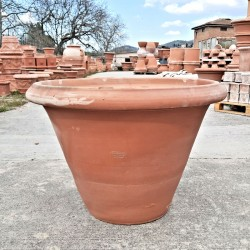 Classic smooth terracotta vase hand made
