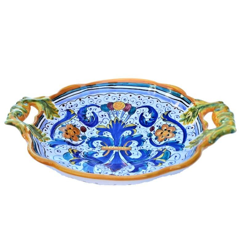 Centrotavola fruttiera ceramica maiolica Deruta dipinto a mano decoro Ricco Deruta Giallo Cm 33
