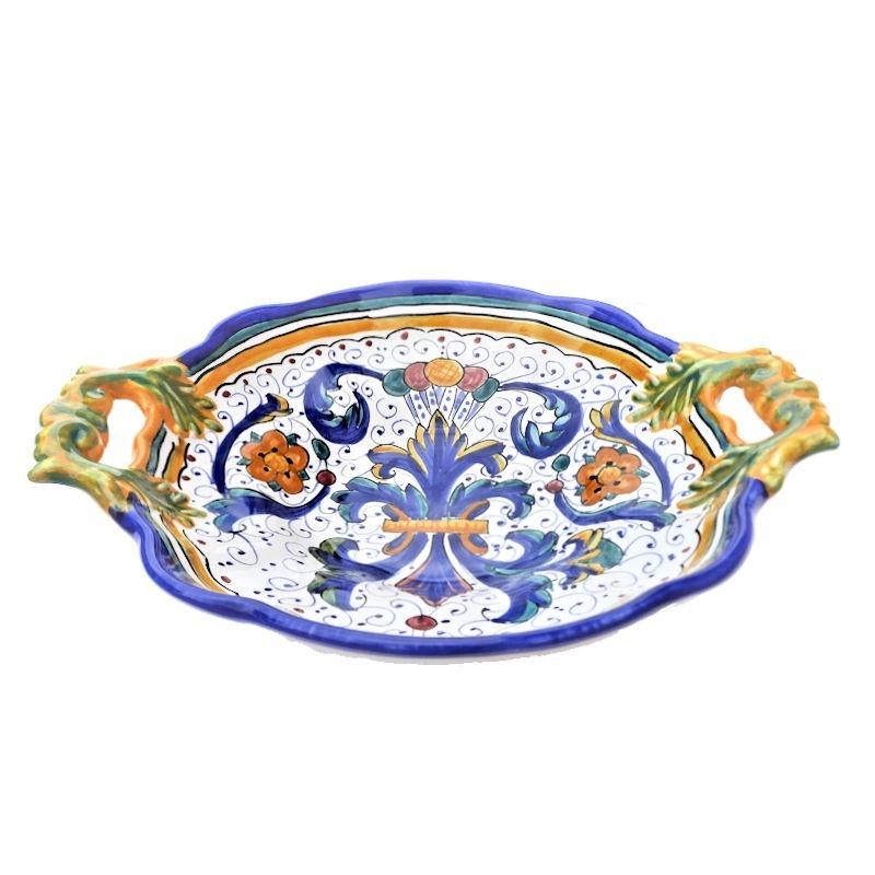 Centrotavola fruttiera ceramica maiolica Deruta dipinto a mano decoro Ricco Deruta Blu Cm 33