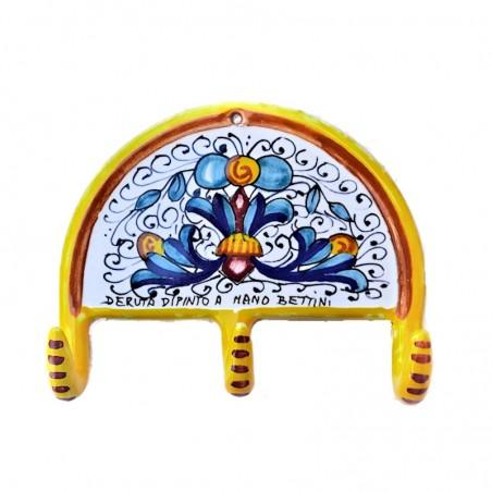 Appendino ceramica maiolica Deruta dipinto a mano decoro Ricco Deruta Giallo 3 Ganci
