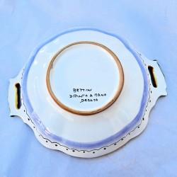 Fruit bowl centerpiece Deruta majolica ceramic hand painted Raphaelesque decoration Cm 33