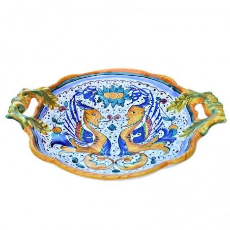 Centrotavola fruttiera ceramica maiolica Deruta dipinto a mano decoro Raffaellesco Cm 33