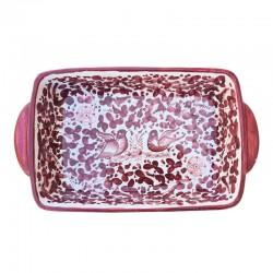 Pirofila da forno ceramica maiolica Deruta dipinta a mano decoro arabesco rosso
