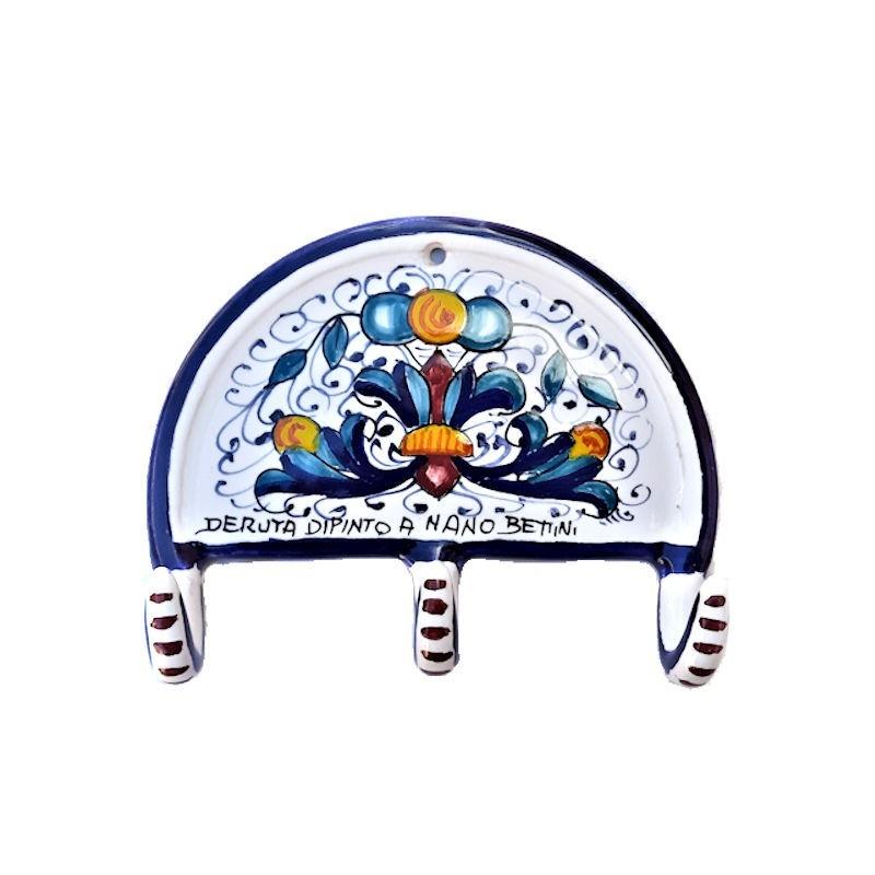 Hanger Deruta majolica ceramic hand painted Rich Deruta blue decoration 3 Hooks