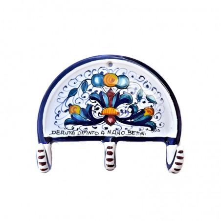 Appendino ceramica maiolica Deruta dipinto a mano decoro Ricco Deruta blu 3 Ganci