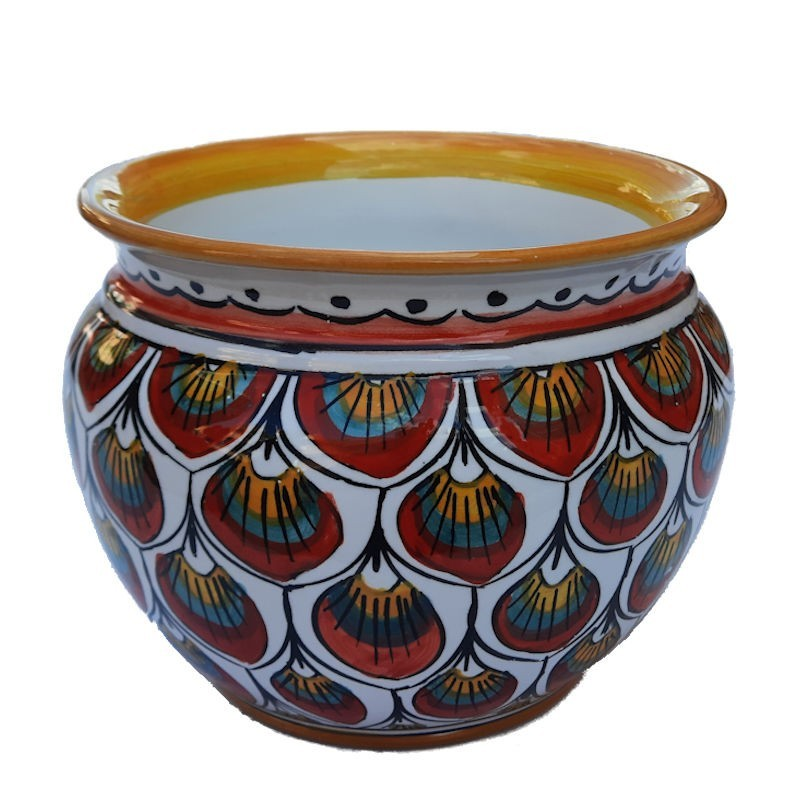 Porta vaso cachepot ceramica maiolica Deruta dipinto a mano decoro penne pavone rosso